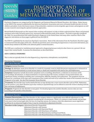 Diagnostic and Statistical Manual of Mental Health Disorders (Speedy Study Guide) - Speedy Publishing LLC