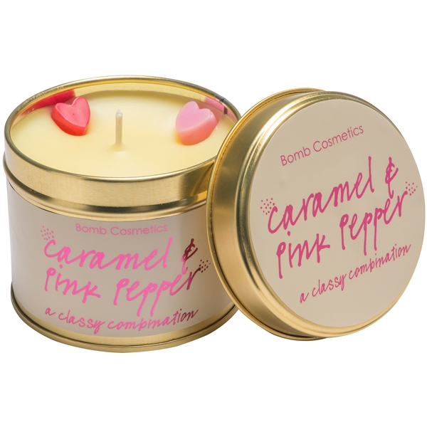 Tin Candle Caramel & Pink Pepper - Bomb Cosmetics