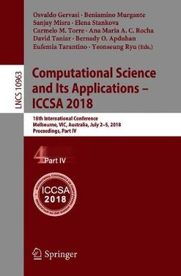 Computational Science and Its Applications - ICCSA 2018 - Osvaldo Gervasi