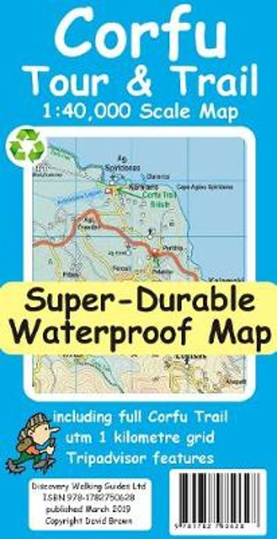 Corfu Tour & Trail Super-Durable Map - David Brawn