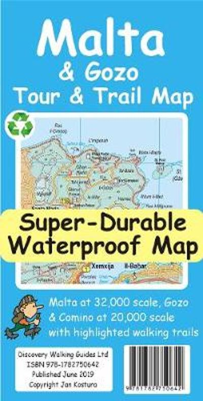 Malta and Gozo Tour and Trail Super-Durable Map - Jan Kostura