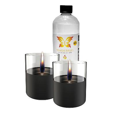 Lilly lyslykt sort 2 stk +  0,7 l fuel - Tenderflame
