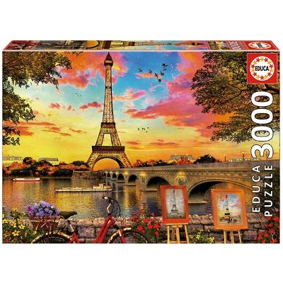 Puslespill 3000 Deler Sunset In Paris - Educa