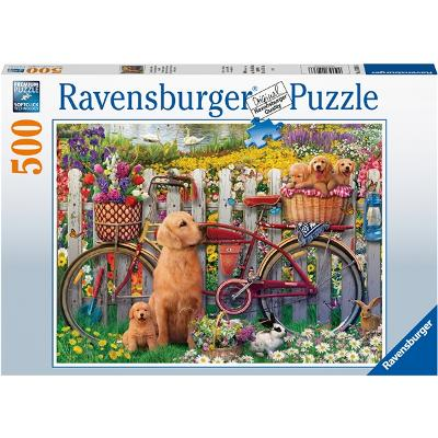 Puslespill 500 Deler Cute Dogs in the Garden - Ravensburger