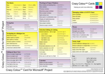 Crazy Colour Quick Reference Card for Microsoft Project - Scott Spence